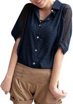 Allegra K Women Elbow Sleeve Button Down Chiffon Shirts Summer Tops