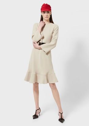 Giorgio Armani Silk Dress With Belt And Tortoiseshell Detail