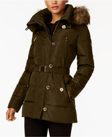 MICHAEL Michael Kors Asymmetrical Belted Down Coat