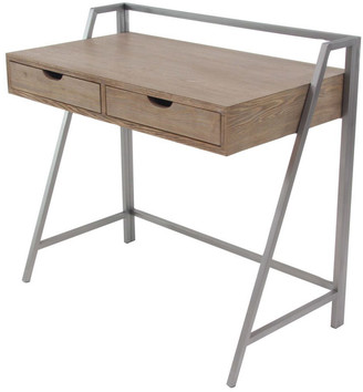 Uma Enterprises Wood Metal Desk In Light Brown Finish