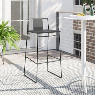 "Foundstone Gilligan 36.81"" Patio Bar Stool Frame Color: Matte Coal"