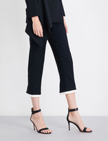 Alexander McQueen Ladies Black Cropped Contrast Hem Wool-Blend Pants