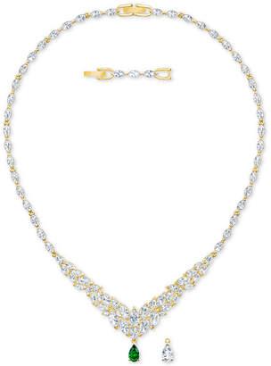 "Swarovski Gold-Tone Crystal Interchangeable Pendant Necklace, 14"" + 1"" extender"