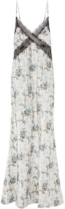 Brock Collection Lace-trimmed Floral-print Silk Maxi Dress