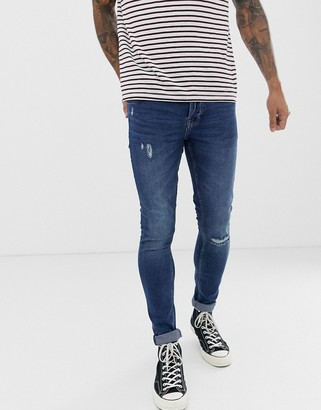 ONLY & SONS super skinny fit knee break jeans in washed blue