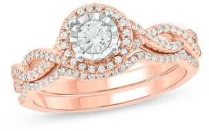 Cali Trove 1/2 cttw Diamond Bridal Set in 10Kt White/Pink/Yellow Gold