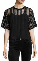 KENDALL + KYLIE Lattice Jersey Box Tee, Black