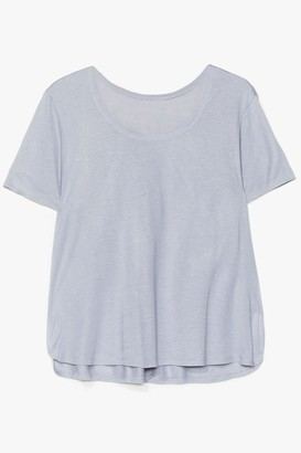 Nasty Gal Womens Soft Spot Scoop Neck Relaxed Tee - Blue