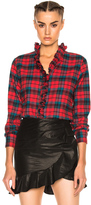 Etoile Isabel Marant Awendy Ruffled Check Shirt in Checkered & Plaid,Green,Red.