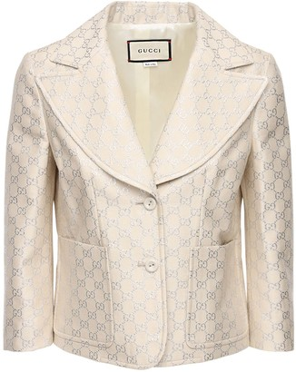 Gucci Gg Lame Light Wool Blend Jacket