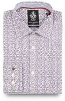 Jeff Banks Dark Purple Floral Print Slim Fit Shirt