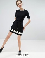 Monki Stripe Detail Jersey Mini Skirt
