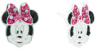 Sterling Silver Minnie Mouse Enamel Crystal Stud Earrings