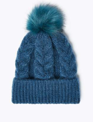M&S CollectionMarks and Spencer Cable Knit Pom-Pom Beanie