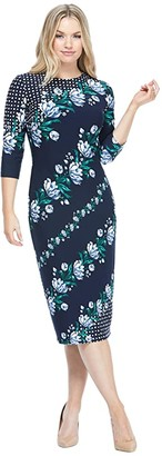 Maggy London Floral Scroll Sheath Dress (Navy/Steel Blue) Women's Dress