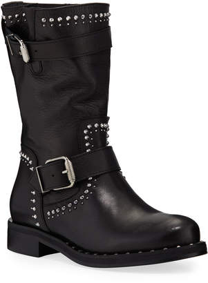 Charles David Whistler Studded Leather Moto Boots