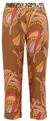 La Prestic Ouiston Miami Floral-print Silk-satin Trousers - Brown Multi