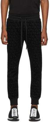 Dolce & Gabbana Black Flocked Print Jogging Pants