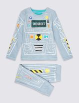 Marks and Spencer Cotton Rich Robot Suit Pyjamas (1-8 Years)