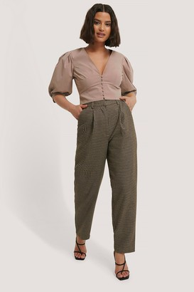 Chloé B X NA-KD Pleat Balloon Checked Suit Pants