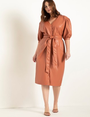 ELOQUII Faux Leather Puff Sleeve Dress With Belt