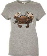 River Island Womens Grey sequin crab print t-shirt