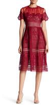 Romeo & Juliet Couture Short Sleeve Mock Neck Mesh Panel & Lace Dress