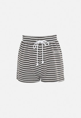 Missguided Dark Grey Stripe Tie Waist Runner Shorts