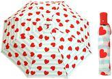 Betsey Johnson Auto Open Umbrella in Stripe/Heart