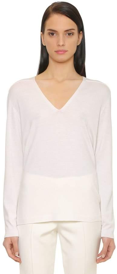 Akris V Neck Cashmere & Silk Blend Sweater