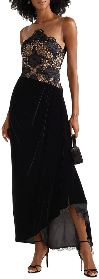Thumbnail for your product : Reem Acra Charmeuse-trimmed Lace, Velvet And Tulle Gown