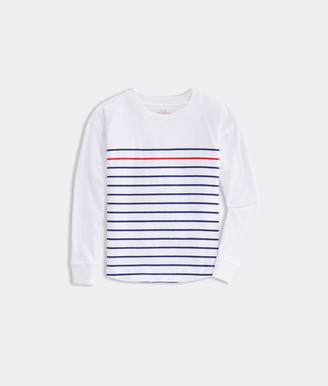 Vineyard Vines Girls' Striped Curved Hem Boxy Tee
