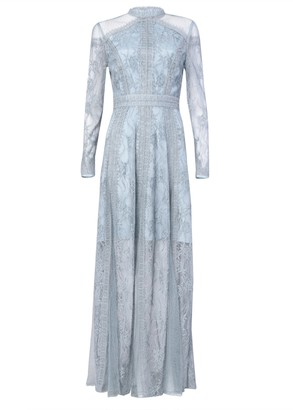 True Decadence Ice Blue Lace Long Sleeved Maxi Dress