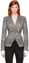 Balmain Black & White Houndstooth Six-Button Blazer