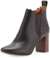 Chloé Scalloped Leather Chelsea Boot, Black