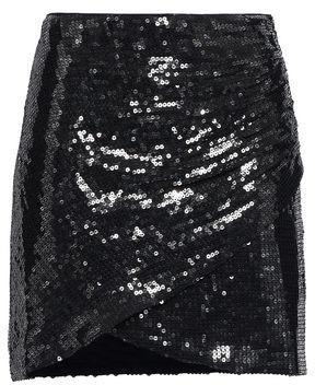 Alice + Olivia Wrap-effect Sequined Crepe Mini Skirt
