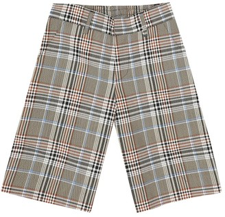 Fendi Kids Checked wool-blend bermuda shorts