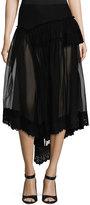 Simone Rocha Silk Tulle Fishtail Skirt w/Eyelet Hem, Black