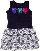 Design History Heart Trim Eyelet Dress (Toddler/Kid) - Blue-2T