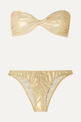 Lisa Marie Fernandez Alexia Twisted Metallic Bandeau Bikini - Gold