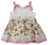 Nannette Baby® Size 3-6M Butterfly Sleeveless Chiffon and Lace Bodysuit Dress in Pink/White