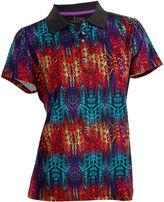 Asstd National Brand Birdie Short Sleeve Short Sleeve Abstract Knit Polo Shirt