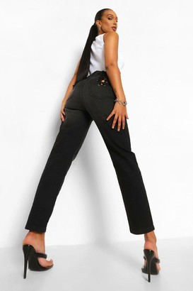 boohoo Skinny Rigid Jeans With Back Lace Up Detail