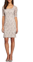 Alex Evenings Lace Elbow-Sleeve Tiered Dress