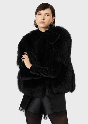 Emporio Armani Long-Haired Shearling With Velvet Details