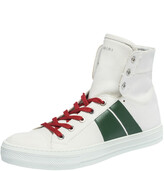 Thumbnail for your product : Amiri White/Green Canvas and Leather Sunset High Top Sneakers Size 42