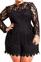 Cfanny Women's Long Sleeve Lace Plus Size Summer Romper