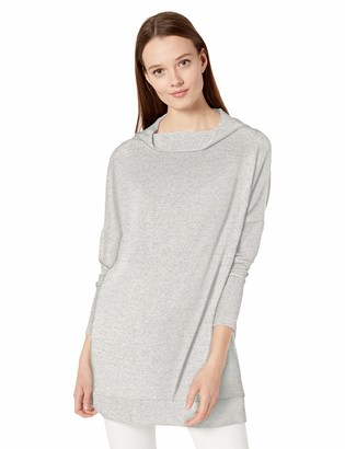 Daily Ritual Cozy Knit Modern Funnel-Neck Tunic Shirt Light Grey Heather US M (EU M - L)