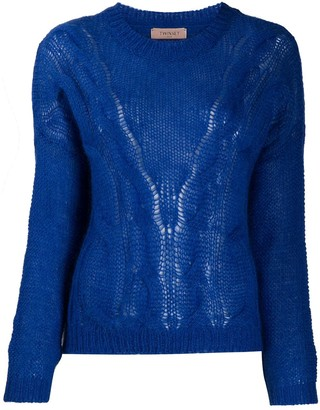 Twin-Set Blue Cable Knit Jumper