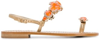 Emanuela Caruso Jewelled Toe-Ring Sandals